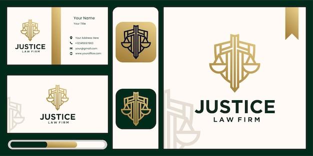 Symbol logo prawa sprawiedliwości, adwokata, kancelarii, w kolorze złotym.