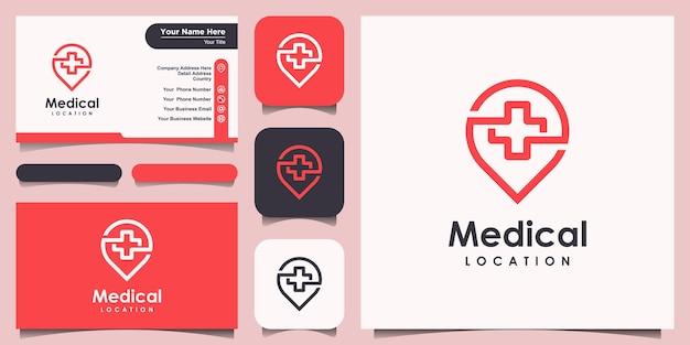Symbol lokalizacji medycznej ze stylem grafiki liniowej, logo i projekt wizytówki