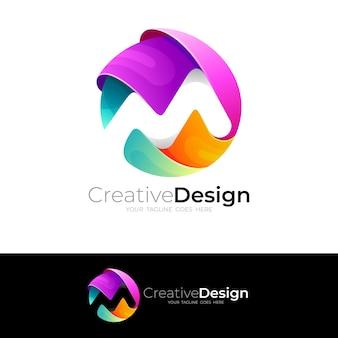 Symbol m logo z kolorowym wektorem, ikonami koła