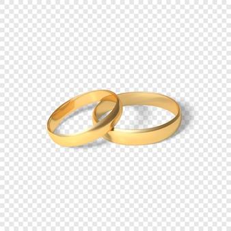 Symbol małżeństwa para złotych pierścieni. dwa złote pierścienie. ilustracja na przezroczystym tle