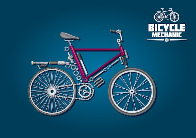 Symbol mechaniki rowerowej ze szczegółowymi częściami, akcesoriami i układem napędowym, ułożony w sylwetkę roweru miejskiego.