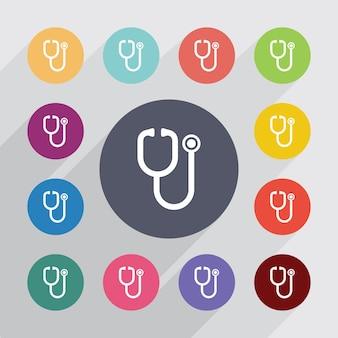 Symbol medyczny, zestaw ikon płaski. okrągłe kolorowe guziki. wektor