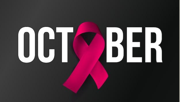 Symbol miesiąca świadomości października. baner raka piersi. różowa wstążka z białym tekstem na czarnym tle. ilustracja wektorowa