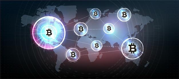 Symbol monety kryptowaluty bitcoin. kryptowaluta, wirtualne pieniądze elektroniczne, internetowe. symbol płatności. koncepcyjne tło bitcoin z niebieskim świecącym światłami elektrycznymi w stylu hud.