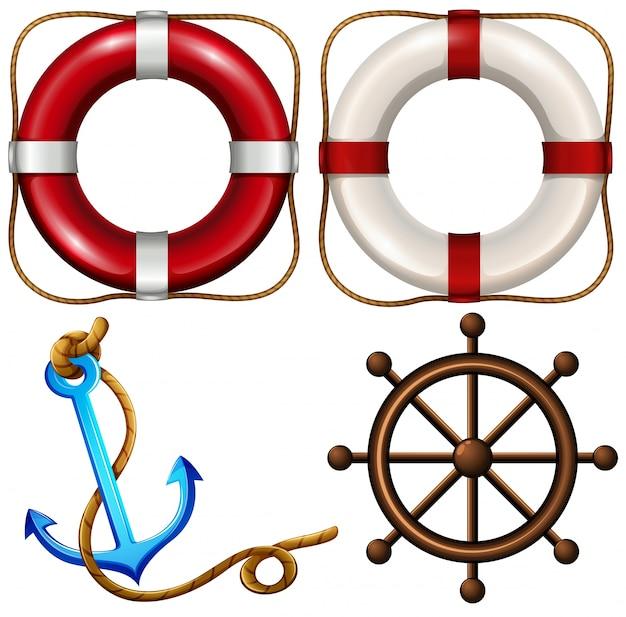 Symbol morskie z pierścieniami bezpieczeństwa i kotwicy