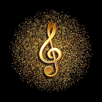Symbol muzyki klucz wiolinowy na błyszczącym złotym tle konfetti