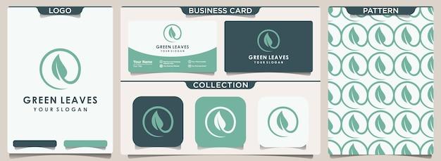 Symbol naturalnego centrum z koncepcją liścia, logo, wzornictwem i projektowaniem wizytówek.