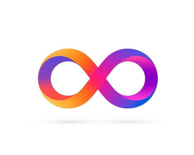 Symbol nieskończoności z gradientem kolorów, kolorową ikoną. ilustracja wektorowa