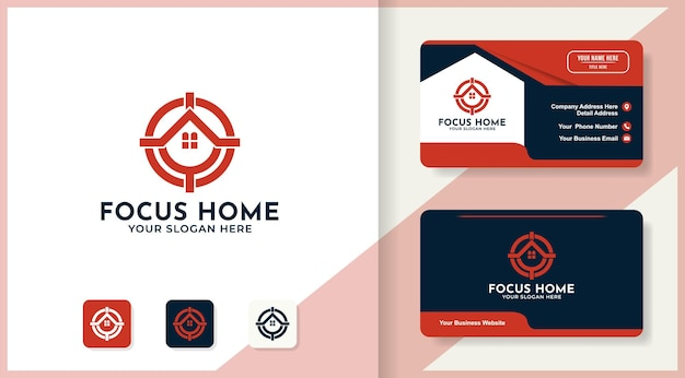 Symbol ostrości łączy logo domu i projekt wizytówki