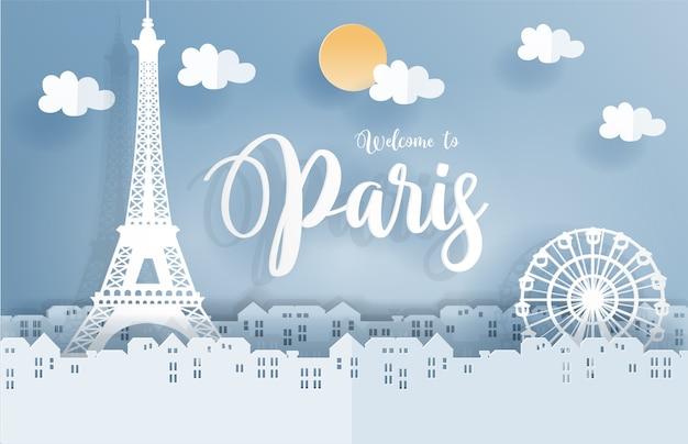 Symbol paryża w papierowym słodkim stylu