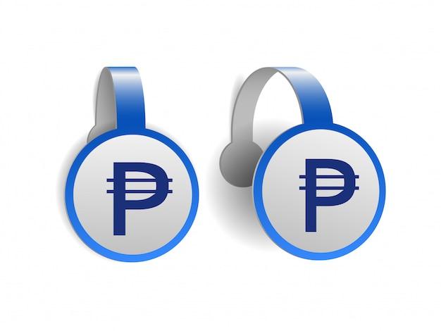 Symbol peso filipińskiego na niebieskich woblerach reklamowych. ilustracja znak waluty filipin na etykiecie transparentu. symbol jednostki monetarnej. ilustracja na białym tle