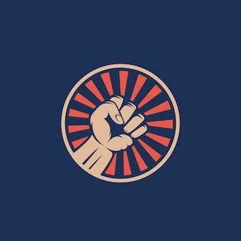 Symbol pięści buntu działacza. streszczenie godło zamieszek lub szablon logo. ręka z promieniami w koło sylwetka.