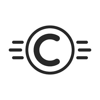 Symbol praw autorskich, takich jak własność intelektualna. pojęcie ochrony praw autorskich, identyfikacja wizualna, własność, abc. na białym tle. płaski trend w nowoczesnym stylu c logo projekt ilustracji wektorowych