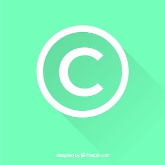 Symbol praw autorskich w stylu płaskiej