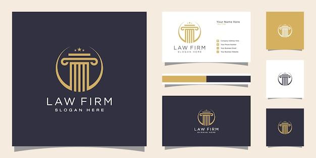 Symbol prawnik adwokat adwokat szablon liniowy styl logotyp firmy i wizytówka
