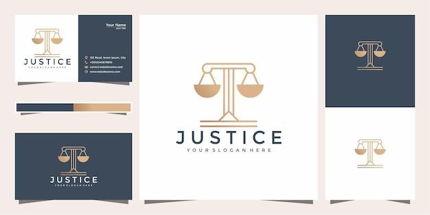 Symbol prawnik adwokat adwokat szablon logo firmy w stylu liniowym i wizytówki.