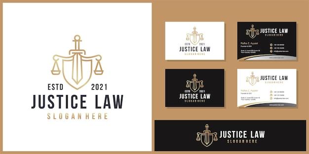 Symbol prawnik adwokat adwokat szablon logo firmy w stylu liniowym i wizytówki