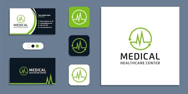 Symbol pulsu serca, logo opieki zdrowotnej i szablon inspiracji do projektowania wizytówek