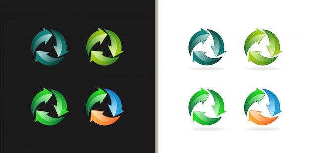 Symbol recyklingu kolorowe logo 3d