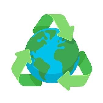 Symbol recyklingu wokół zielonej planety ziemi glob ikona płaska konstrukcja dla sieci web i mobile, baner, infografiki.