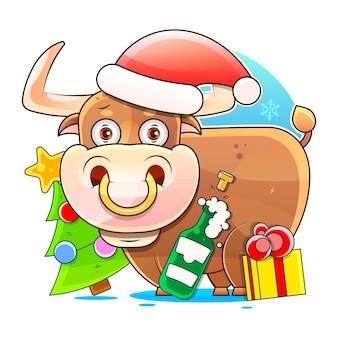 Symbol roku, byk, zdobi choinkę. pocztówka. z napisem w szczęśliwego nowego roku