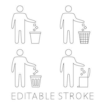 Symbol śmieci. ikona kosza. ikona jednorazowego użytku. symbol schludnego człowieka, nie zaśmiecaj, ikona, utrzymuj w czystości. mężczyzna wyrzuca śmieci do kosza na śmieci. ikona wektor kosza, symbol ponownego wykorzystania. obrys edytowalny. wektor