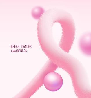 Symbol świadomości raka piersi wykonany w postaci realistycznego różowego puszystego świecidełka i perły