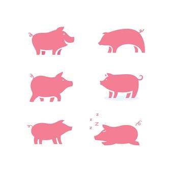 Symbol świnia szablon wektor ikona ilustracja projektu