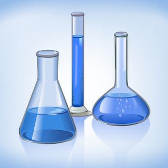 Symbol szklane niebieskie kolby laboratoryjne