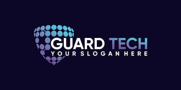 Symbol technologii projektowania logo tarczy z nowoczesną koncepcją premium wektor