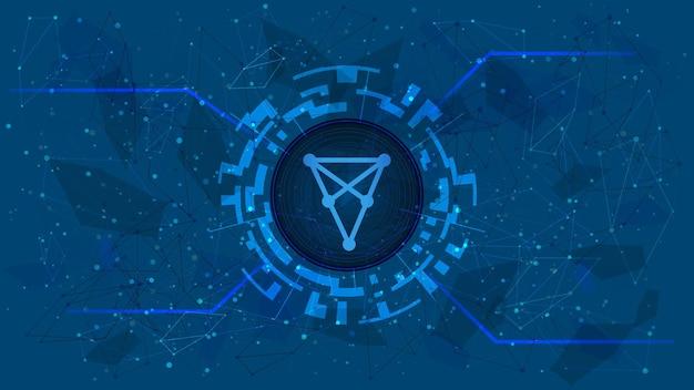 Symbol tokena chiliz chz w cyfrowym kręgu z motywem kryptowaluty na niebieskim tle. ikona monety kryptowaluty. ilustracja wektorowa.