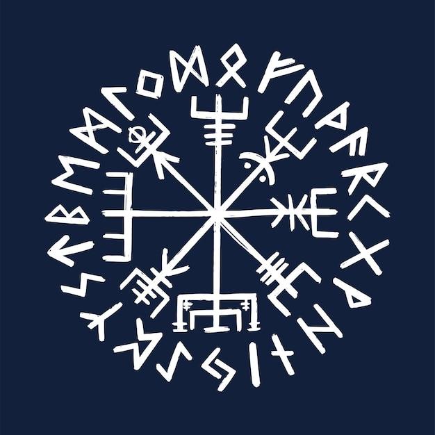 Symbol vegvisir. starożytny kompas skandynawski