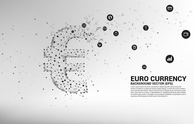 Symbol waluty euro pieniądze wektor z linii kropka wielokąt. koncepcja połączenia sieci finansowej w europie.