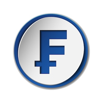 Symbol waluty franka szwajcarskiego na okrągłej naklejce z niebieskim tłem. podaj jednostkę monetarną. koncepcja finansowa, biznesowa i inwestycyjna. ilustracja