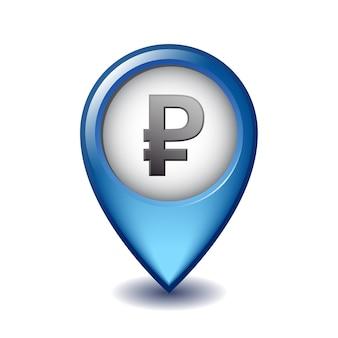 Symbol waluty rubel rosyjski mapping marker icon. ilustracja rubla ikona marker mapy na białym tle.