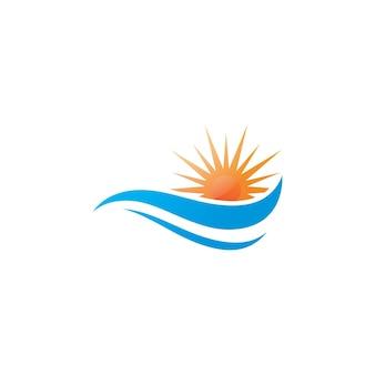 Symbol wektor fala wody i słońce