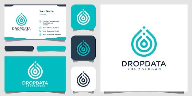 Symbol wody ze stylem sztuki linii. kropla lub oliwa z oliwek w stylu grafiki liniowej dla koncepcji mobilnej i sieci. zestaw logo i wizytówki