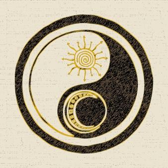 Symbol yin yang, kultura i filozofia wschodu, chiński taoizm, rysunek wektorowy w stylu grunge