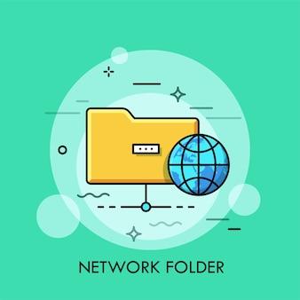 Symbol żółtego folderu i świata.