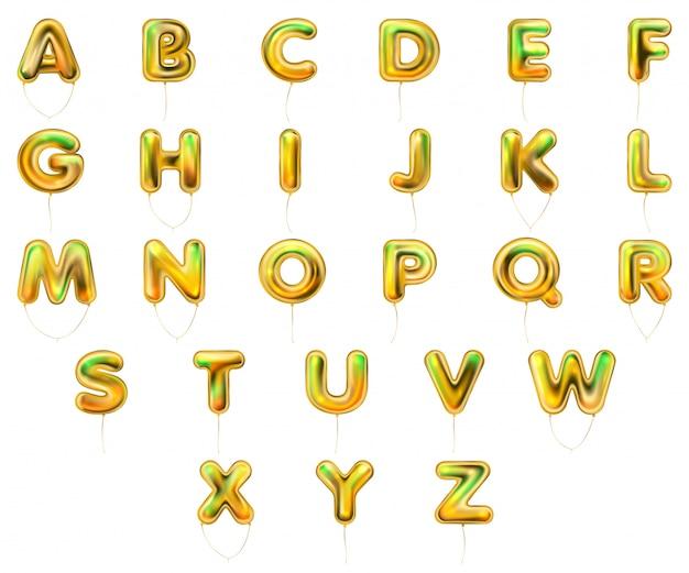 Symbole alfabetu złoty metalik balon