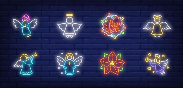 Symbole aniołów ustawione w stylu neonowym