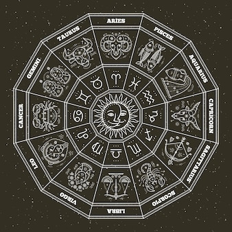 Symbole astrologiczne i mistyczne znaki. koło zodiaku ze znakami horoskopu. cienka linia .