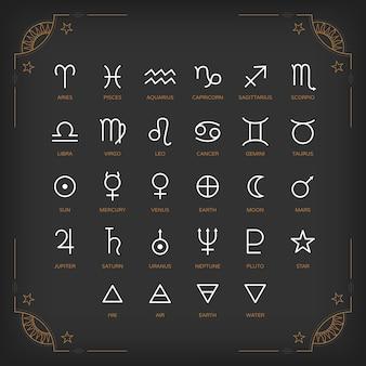 Symbole astrologiczne i mistyczne znaki. zestaw astrologicznych elementów graficznych. kolekcja ikon.
