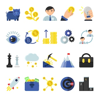 Symbole b2b firmy w stylu płaskiej. ikony zarządzania i finansów