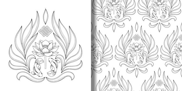 Symbole buddyzmu drukowane i bezszwowe wzór z niekończącymi się węzłowymi rybami lotosu