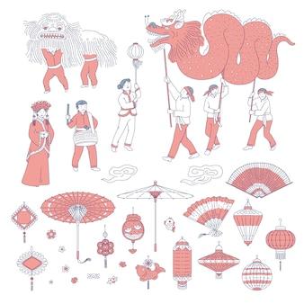 Symbole chiński nowy rok ludzi w tradycyjnych strojach. linia sztuki zestaw lampiony talizmany do dekoracji domu na wakacje. narodowa parada uroczystości i symbole kultury chińskiej.