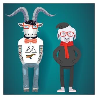 Symbole chińskiego nowego roku kóz i owiec w ubraniach hipster.