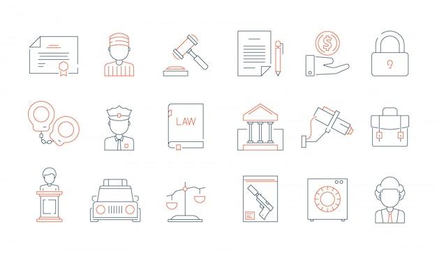 Symbole cienkie prawa. licencja rachunkowości prawnik sprawiedliwości wektor liniowy kolorowe ikony kolekcja