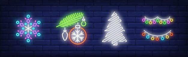 Symbole dekoracji nowego roku w stylu neonowym