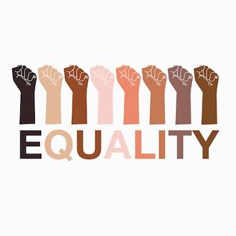 Symbole dłoni czarnego życia mają znaczenie we wszystkich odcieniach skóry z równością tekstu